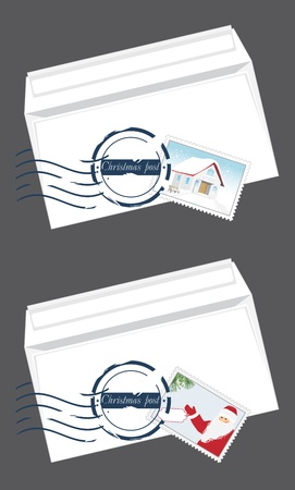 Christmas envelops with post stamps Vector