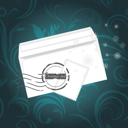Christmas envelop on the ornamental background Vector
