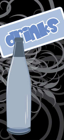 Wine bottle on the ornamental background Stock Vector - 16175383