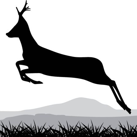 Silhouette of a running deer Vector