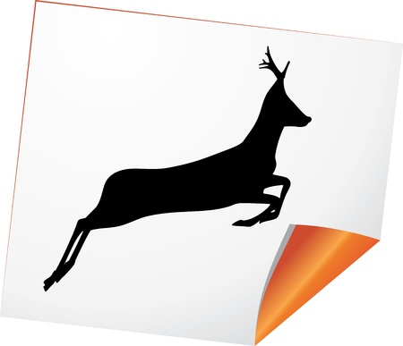 Silhouette of deer on a curled paper Vector
