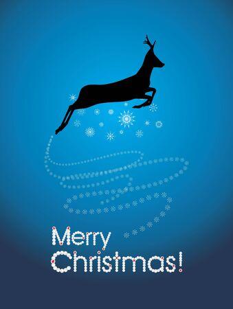 running reindeer: Silhouette of a running Christmas deer with snowflakes