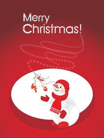 Un bonhomme de neige heureux avec la branche rowan. Carte postale de Noël