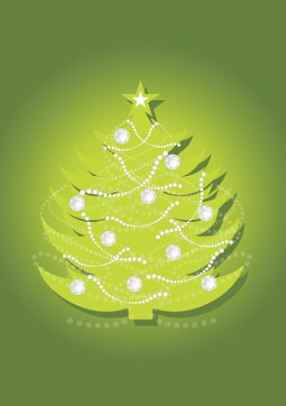Shining Christmas fir tree on the green background Vector