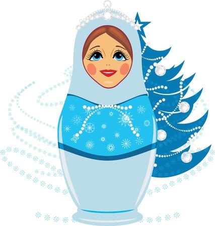 snowfall: Snow maiden and Christmas fir tree