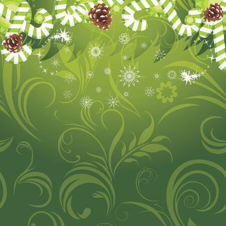 Christmas candy canes and pine cones on the ornamental background Vector