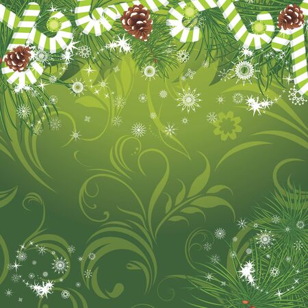 Christmas fir tree with candy canes on the ornamental background Vector