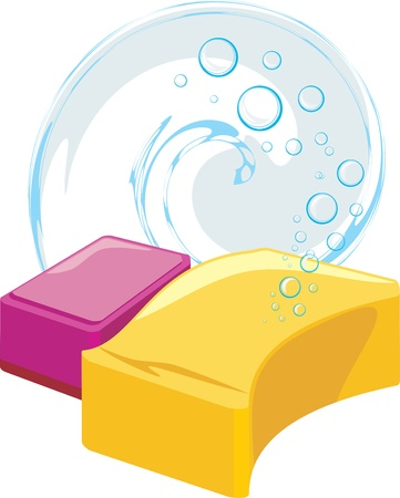 soapy: Sponges with soapy bubbles