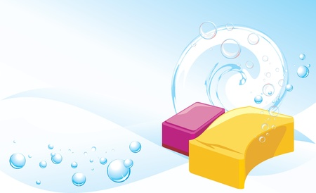 soapy: Sponges with soapy bubbles on the abstract background