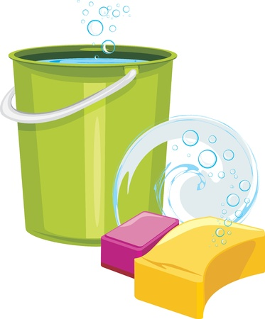 Sponges and bucket with water Vector