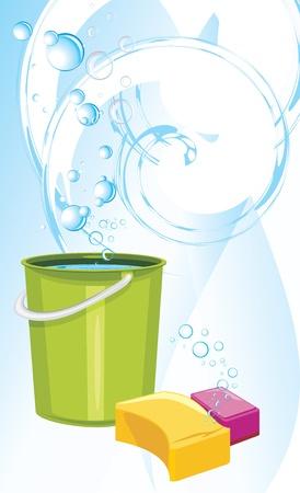 seau d eau: Éponges et seau avec de l'eau sur le fond abstrait
