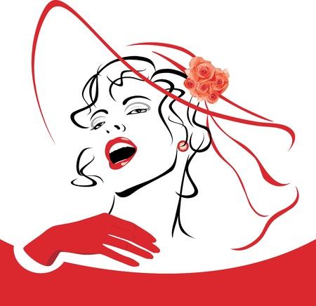 모자: 베일과 장미와 빨간 모자에 우아한 여자