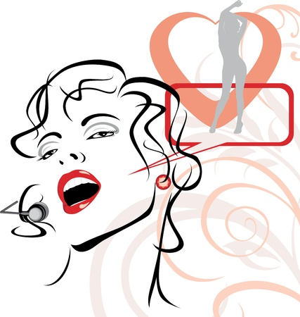 Beautiful singer on the abstract background Vector
