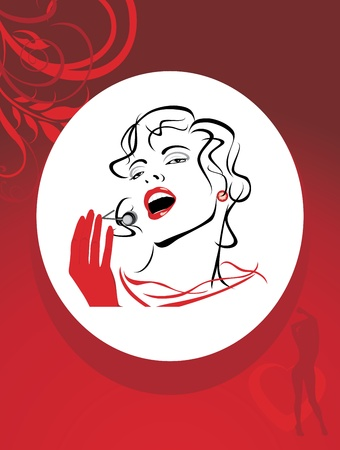 Portrait of a beautiful singing woman in the decorative red frame Vector