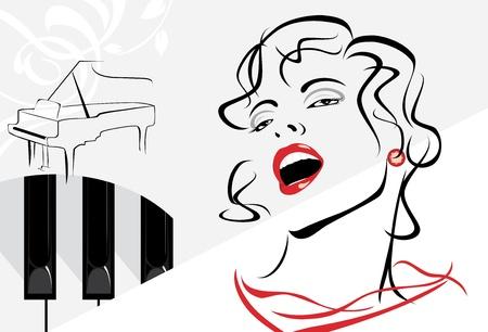 Mujer cantando en el fondo retro con piano
