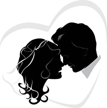 Newlyweds. Wedding icon Vector