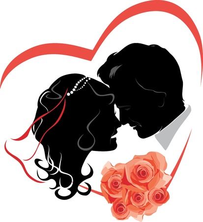 Newlyweds with bouquet of roses. Wedding icon Vector