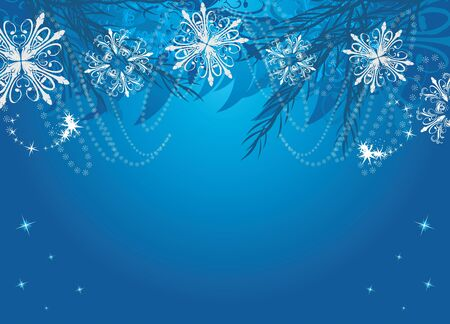 New Year background with snowflakes and Christmas fir tree Vector