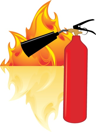 Flame and extinguisher Stock Vector - 16831536