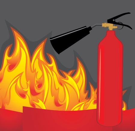 Extinguisher on the fiery background Stock Vector - 16831537