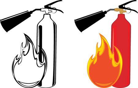 fire extinguisher symbol: Extinguishers isolated on the white