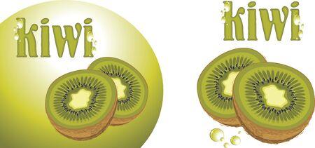 kiwi fruit: Fruta kiwi maduro. Iconos para dise�o Vectores