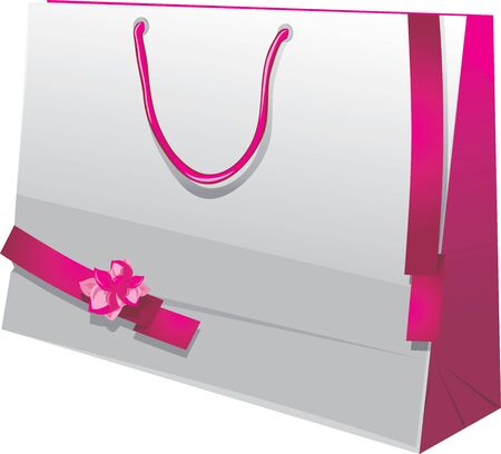 mo�os rosas: Regalo brillante bolsa de papel con cintas de color rosa Vectores