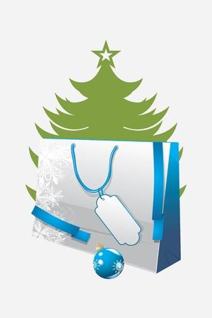 bolsa de regalo: Bolsa de papel de regalo en el fondo de la Navidad