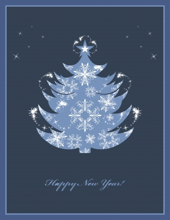 Christmas fir tree on the dark blue background. Greeting card Stock Vector - 16936936