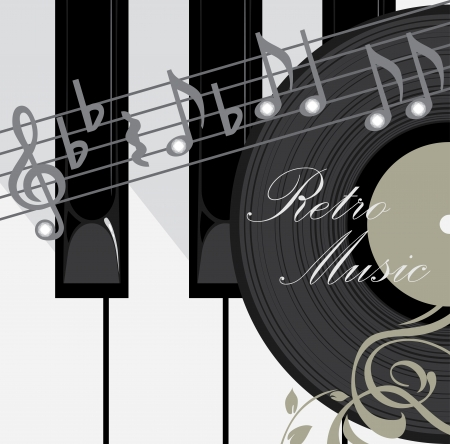 Piano keys, disc and notes. Abstract music background Vector