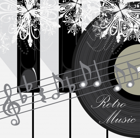 Piano keys, disc and notes. Retro music background Vector