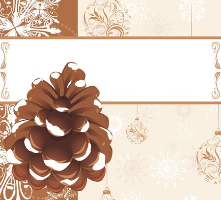 Pinecone on the ornamental background with snowflakes and Christmas balls Vector