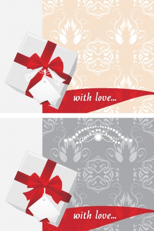 Gift boxes with tag and bow on the decorative backgrounds Vector