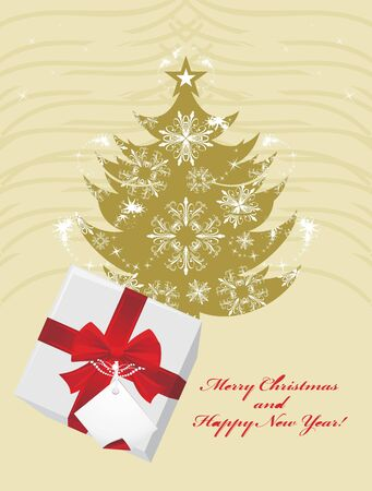 Christmas fir tree and gift box with red bow Vector