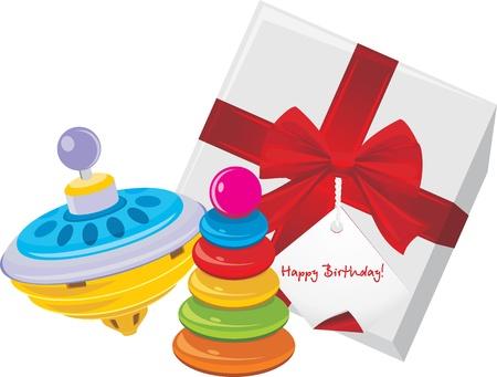 perinola: Caja de regalo con los ni�os y el juguete pir�mide whirligig