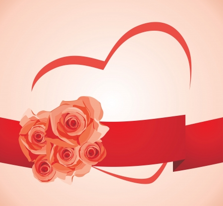 Roses with heart on the pink background Vector
