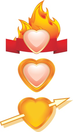 Hearts. Three icons for design Stock Vector - 17292341