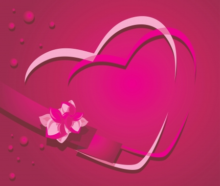 Hearts and ribbon with flower on the crimson background Vector