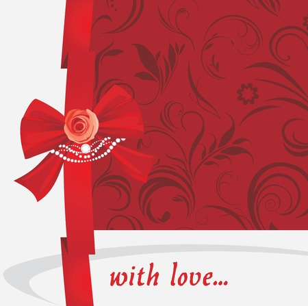 Red bow with rose and strasses on the ornamental background Stock Vector - 17292346