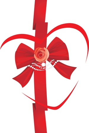 artificial flower: Red bow with rose and strasses. Icon for design