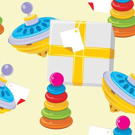molinete: Caja de regalo con los ni�os y el juguete pir�mide perinola. Fondo