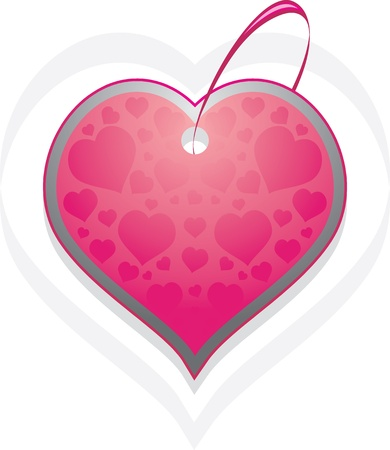 purple love: Ornamental heart. Tag isolated on the white