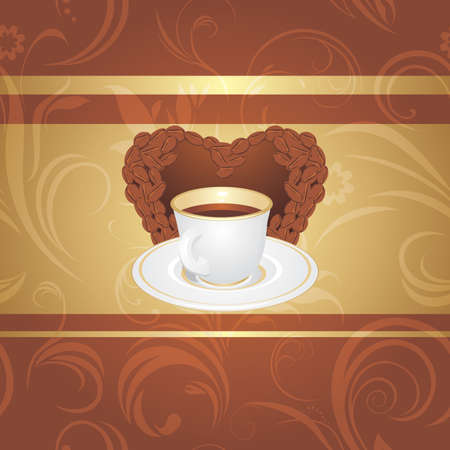 Cup of coffee on the ornamental background Stock Vector - 17499232
