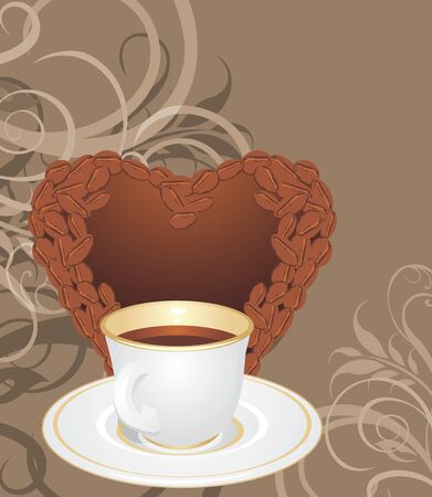 Cup and coffee heart on the ornamental background Vector