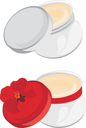 woman face cream: Jars with moisturizer isolated on the white Illustration