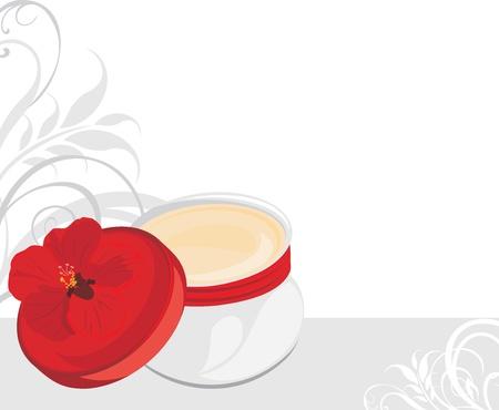 perfect skin: Jar with moisturizer. Decorative banner