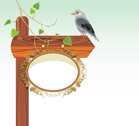green jay: Puntero de madera con el pájaro Vectores
