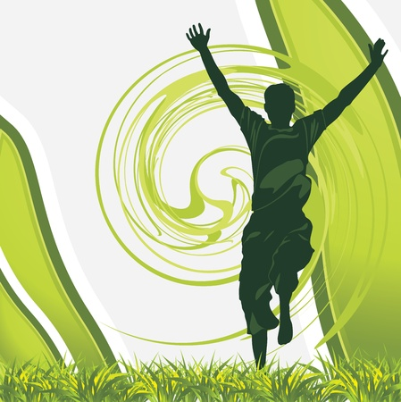 spreading: Joyful male silhouette on the abstract green background