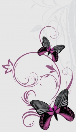 Butterflies on the ornamental background Vector