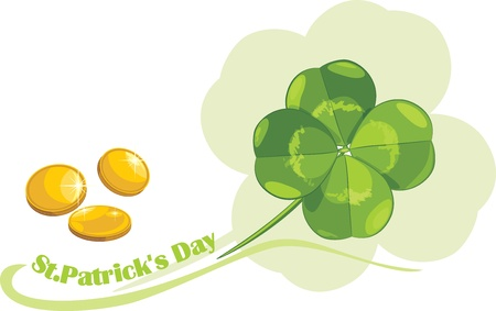St  Patrick s Day clover leaf and coins Vector